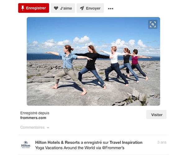 Hilton-pinterest-yoga Exploiter Pinterest dans le secteur du tourisme