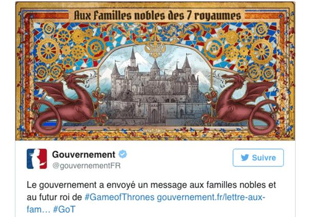 gouvernement-twitter-game-of-thrones La stratégie du gouvernement sur les réseaux sociaux