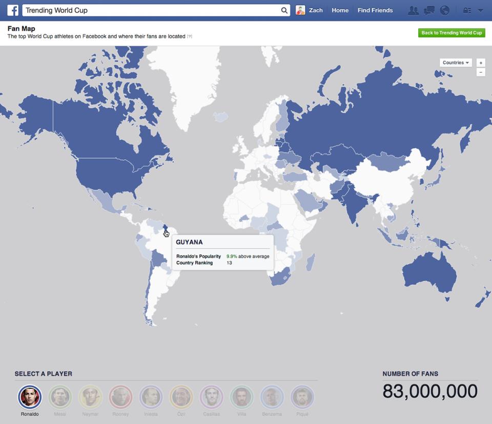 world-cup-fandom-map Facebook se met à l'heure du Brésil