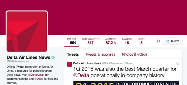 Delta-Newsroom [Cas pratique] Les compagnies aériennes sur le Social Media