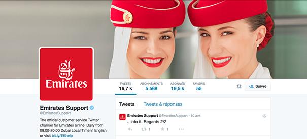 Emirates-Support [Cas pratique] Les compagnies aériennes sur le Social Media