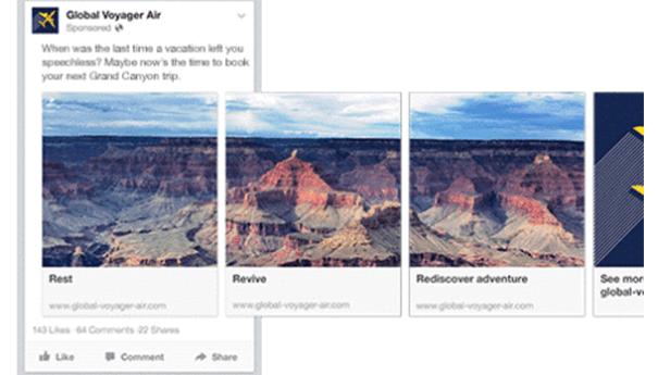 Carrousel-facebook-voyage Comment les marques utilisent le Carrousel sur Facebook