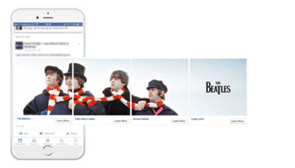 Deezer-Carrousel-Beatles Comment les marques utilisent le Carrousel sur Facebook