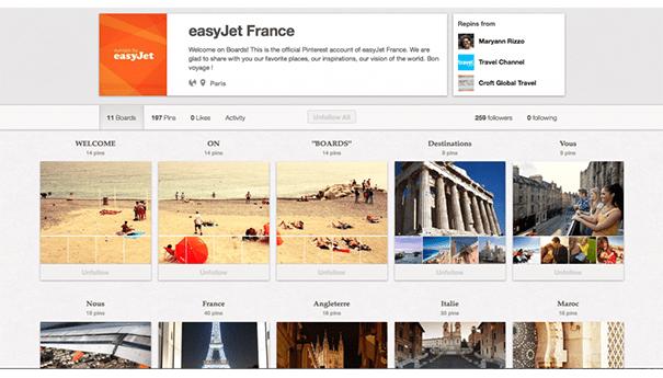 easy-jet-pinterest Exploiter Pinterest dans le secteur du tourisme