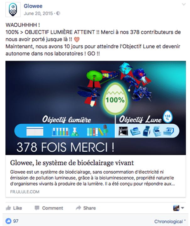 Glowee-fundraising-remerciements La stratégie Social Media d'une campagne de crowdfunding