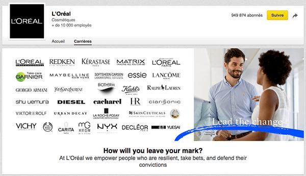 Linkedin-loreal-carriere Marques & entreprises : les bonnes pratiques LinkedIn