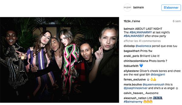 Balmain-rousteing-instagram-luxe La stratégie social media des marques de luxe