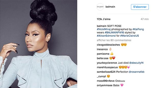 rousteing-instagram-luxe La stratégie social media des marques de luxe