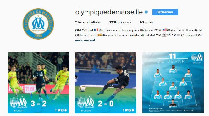 Ligue-1-Om-Instagram Ligue 1 : quand le classement des clubs influe sur la tonalité de leur discours