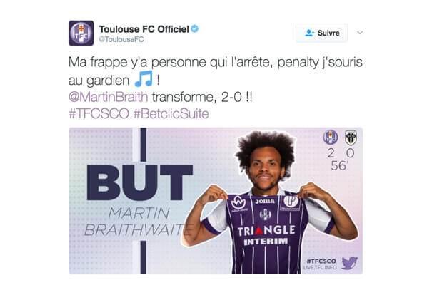 ligue1-toulousefc-tweet Ligue 1 : quand le classement des clubs influe sur la tonalité de leur discours